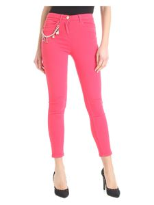 Elisabetta Franchi Jeans - Bright pink jeans with multicolor chain