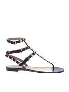 Valentino - Rockstud low sandals in blue