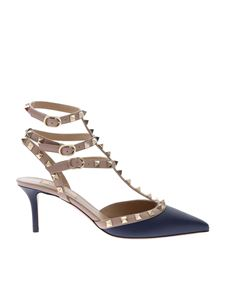 Valentino - Rockstud pumps in blue and beige