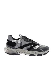 Valentino - Low-top Bounce sneakers in silver camouflage