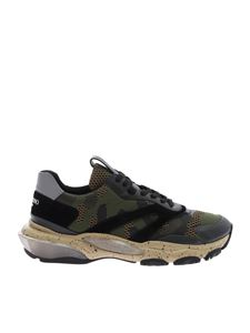 Valentino - Low-top Bounce sneakers in army green camouflage