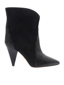 Isabel Marant - Leider black boots with reptile effect