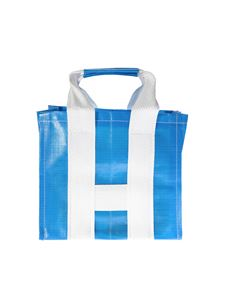 Comme Des Garçons Shirt  - Blue and white shopper bag with woven effect