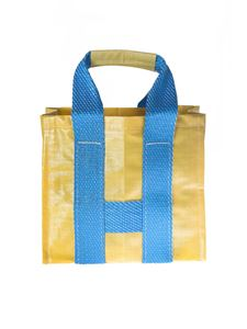 Comme Des Garçons Shirt  - Yellow and blue shopper bag with woven effect
