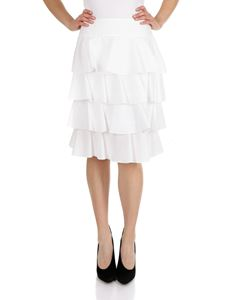 Fendi - Knee-length flounced skirt in white