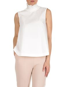 Fendi - Top with high pleated neck in white