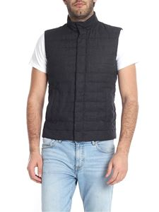 Herno - Sleeveless down jacket in blue linen