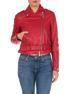 Dondup - Leather biker jacket in raspberry red
