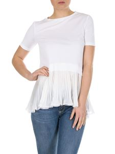 Dondup - White T-shirt with pleated bottom