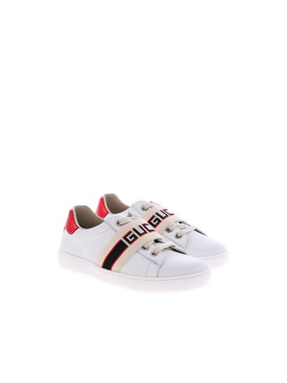 Gucci - White sneakers withbranded elastic band
