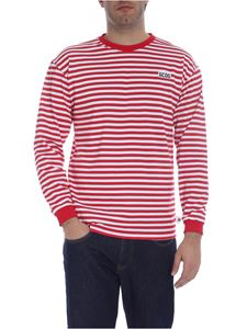 GCDS - Striped sweatshirt in red and white
