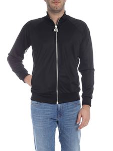 GCDS - Raglan zipped sweatshirt in black
