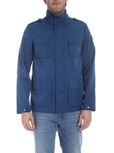 Trussardi Jeans - Jacket with patch pockets in teal blue