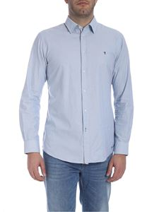 Trussardi Jeans - Light blue cotton shirt with blue embroidery