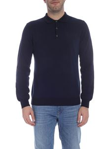Trussardi - Long sleeve polo in blue and black