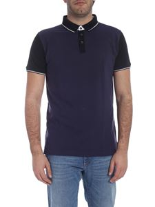 Trussardi - Short sleeve polo in blue and gray pique