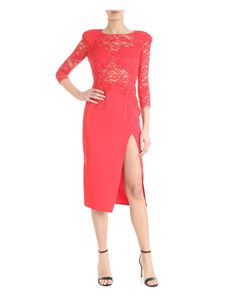 Elisabetta Franchi - Red lace dress with vent