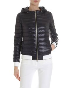 Herno - Black down jacket with white and golden bands