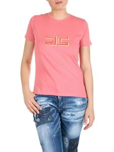 Elisabetta Franchi - Pink peony t-shirt with logo embroidery