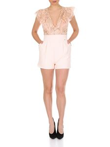 Elisabetta Franchi - Short lace jumpsuit in powder pink