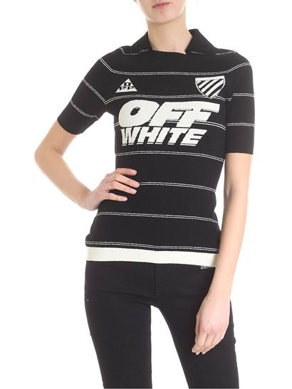491357840183 Off-White Spring Summer 2019 knitted off white t-shirt in black and ...