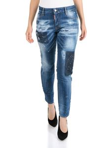 Dsquared2 - Bleached holes boyfriend jeans in blue