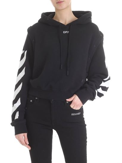 c85efbf9 Off-White Carrie Over oversize diag crop hoodie in black ...