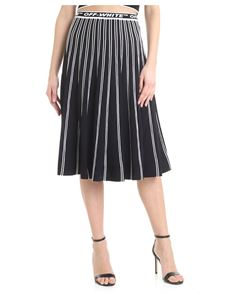 Off-White - Pleated skirt in black with white stripes