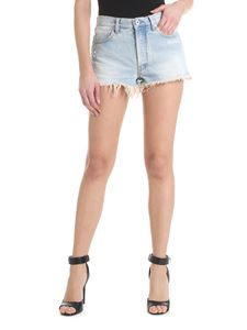 Off-White - Bleached denim shorts in light blue