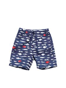 Il Gufo - Blue shorts with fish print
