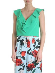 Alice + Olivia - Crop top with green ruffles