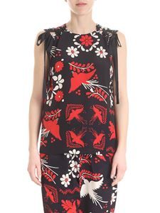 Red Valentino - Terrazzo print silk top in black and red