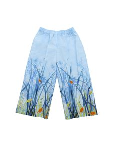 Il Gufo - Light blue cropped trousers with fish print