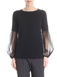 Fabiana Filippi - Sweater with tulle sleeves in black