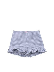 Il Gufo - Blue and white pleated gingham shorts