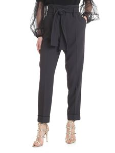 Fabiana Filippi - Jersey trousers with ribbon in anthracite