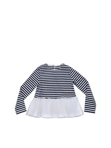 Il Gufo - White and blue T-shirt with tulle embellishment