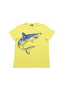 Il Gufo - Lime green T-shirt with shark print