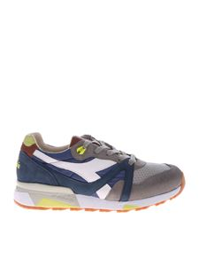 Diadora Heritage - Blue and grey leather and fabric sneakers