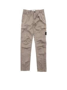 Stone Island Junior - Beige trousers with removable logo