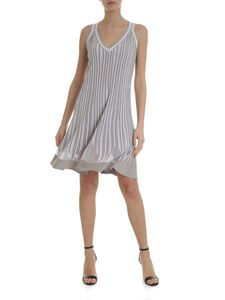 D.Exterior - Beige and white striped dress