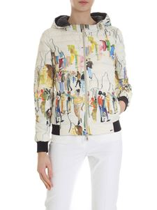 Herno - White and black down jacket with watercolor print