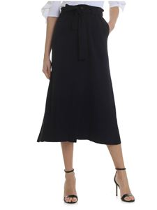 Lamberto Losani - Long knitted skirt in dark blue