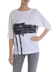 Lamberto Losani -  T-shirt printed linen in white