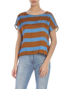 Manila Grace - Brown and light blue striped blouse