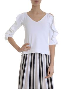 D.Exterior - Off-shoulder sweater in white