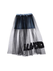 Monnalisa - Gonna in denim con tulle nero