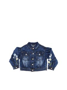 Monnalisa - Denim jacket with floral embroidery