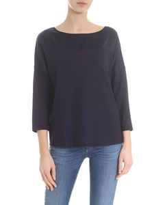 Lamberto Losani - Navy blue sweater with silk insert