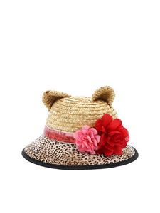 Monnalisa - Straw hat with ears embellishment
